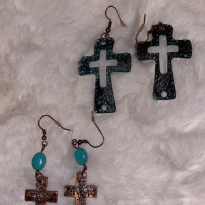 2pr of cross earrings